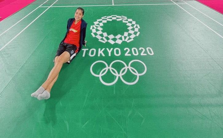 Gregoria Mariska Tunjung Cahyaningsih saat berada di gelanggang pertandingan Bulu Tangkis Olimpiade Tokyo 2021. (Istimewa)