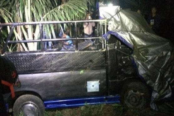 Mobil truk yang alami kecelakaan di kawasan Bawang, Kabupaten Batang (Sumber: Liputan6.com)