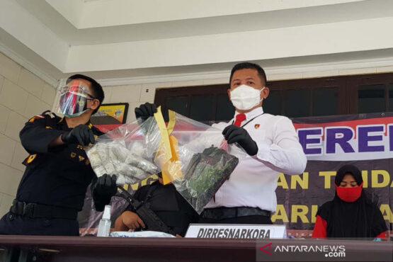 Direktur Reserse Narkoba Polda Jawa Tengah Kombes Pol. Lutfi Martadian menunjukkan barang bukti Sabu-sabu yang dikirim dari Malaysia, Senin. (Antara)