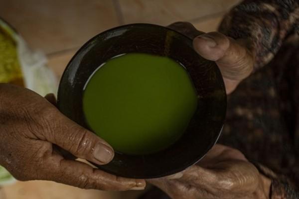 Tradisi minum jamu dengan batok di Desa Wisata Kiringan (Instagram/@desawisatakiringan)