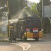 Mobil Water Cannon Keliling Nyemprot Fasum di Solo Jelang PPKM Darurat
