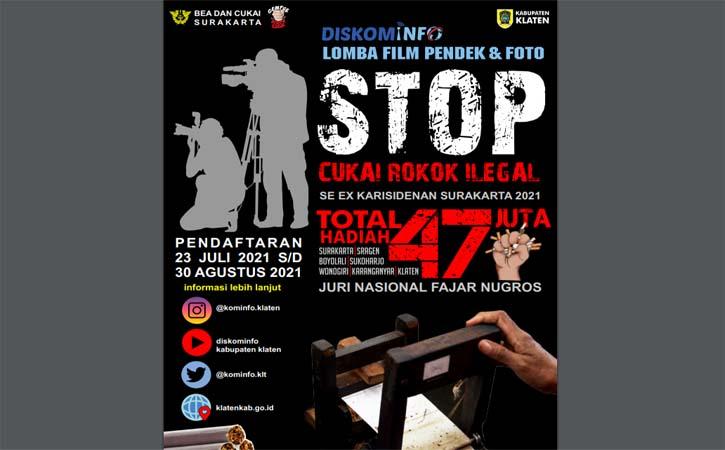 Informasi lomba film pendek Stop Cukai Rokok Ilegal.