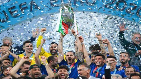 Timnas Italia juara Piala Eropa 2020 setelah mengalahkan Inggris melalui adu penalti 1-1 (3-2) di Stadion Wembley, London, Senin (12/7) dini hari WIB. (UEFA)