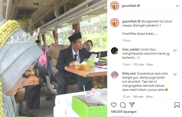 Tangkapan layar unggahan Gus Miftah tentang viral video nikah di bus. (Instagram/@gusmiftah)
