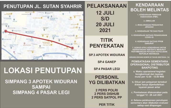 Pengumuman penutupan Jl Sutan Syahrir Solo. (Istimewa/Satlantas Polresta Solo)