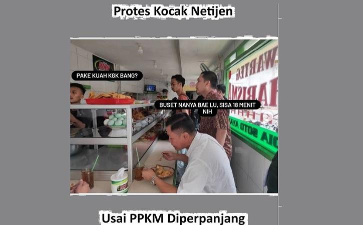 Komentar lucu tentang aturan makan di tempat selama PPKM. (Instagram/@undercover.id)