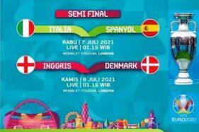 Jadwal Semifinal Euro 2020: Disiarkan Langsung TV Lokal Rabu dan Kamis Pukul 02.00 WIB