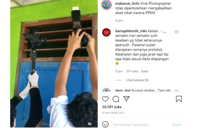 Video juru kamera ambil foto pernikahan. (Instagram/@makassar_iinfo)