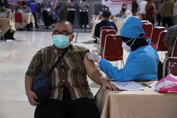 Pelaksanaan vaksinasi bagi kalangan penyandang disabilitas digelar di Sleman City Hall, Kamis (5/8). (Harian Jogja-Abdul Hamid Razak)