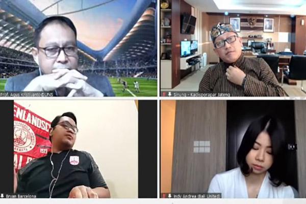 Sejumlah narasumber membahas potensi mengawinkan olahraga dan pariwisata dalam diskusi yang digelar secara virtual Solopos Media Group, Kamis (26/8/2021).