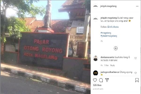 Ungahan foto Pasar Gotong Royong yang menjadi menuai komentar netizen (Instagram/@jelajah.magelang)