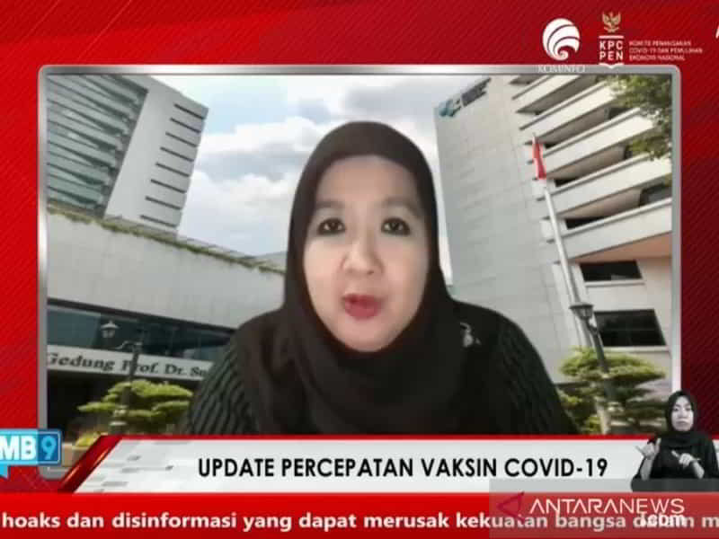 Tangkapan layar Juru Bicara Covid-19 Kementerian Kesehatan Siti Nadia Tarmizi saat hadir secara virtual dalam acara Dialog Produktif Semangat Selasa yang dipantau dari Jakarta, Selasa (27/7/2021) lalu. (Antara/Andi Firdaus).
