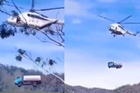 Viral! Truk Terbang Diangkut Helikopter, Netizen Mengira Mainan
