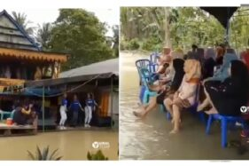 Tersantai di Dunia, Resepsi Pernikahan Ini Digelar Saat Banjir