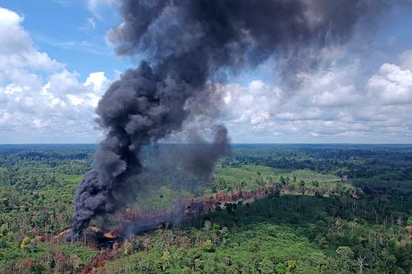 Foto udara saat asap mengepul dari sumur minyak ilegal yang terbakar di Bungku, Bajubang, Batanghari, Jambi, Senin (27/9/2021). (Antara/Wahdi Septiawan)