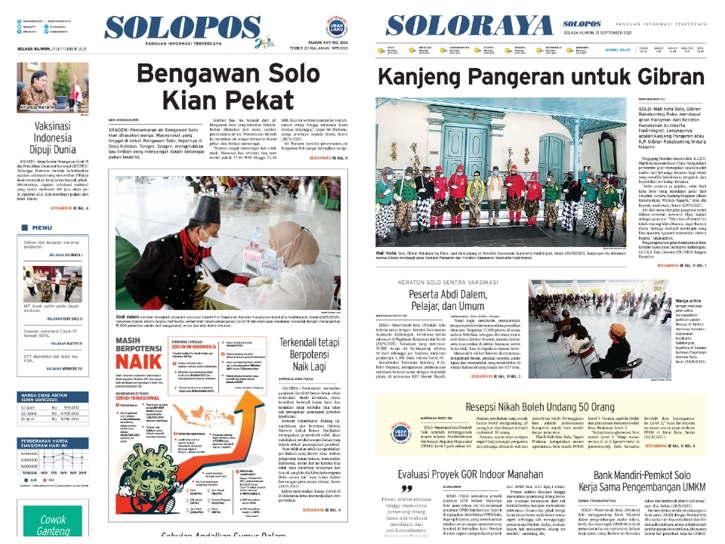 Koran Solopos edisi hari ini, Selasa (21/9/2021). (dok)