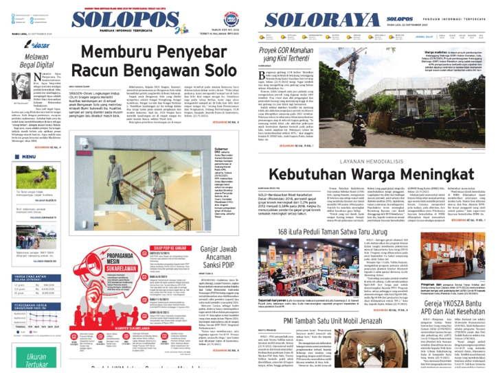 Koran Solopos hari ini, Rabu (22/9/2021). (Dok)