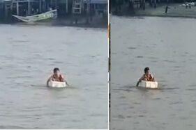 Salut! Demi ke Sekolah, Bocah Ini Lewati Laut dengan Styrofoam