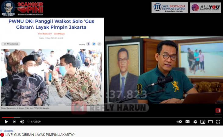 Tayangan di channel Youtube Refly Harun membahas wacana Gibran Rakabuming Raka sebagai cagub di Pilkada DKI Jakarta 2024. (Youtube Refly Harun)