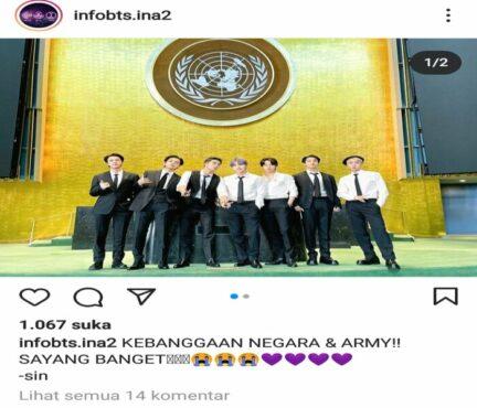 BTS kembali tampil di markas PBB. (Instagram/@infobts.ina2)