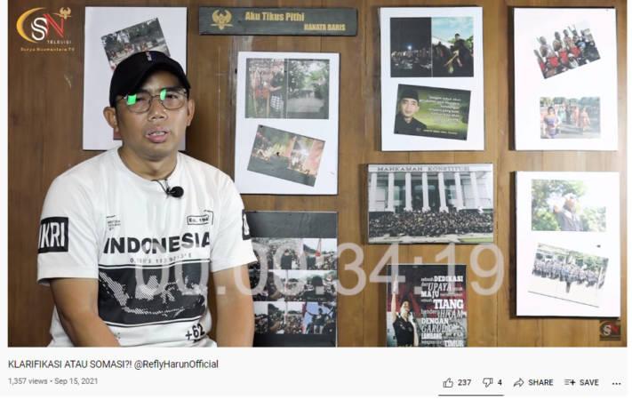 Tayangan video Ketua Tikus Pithi Hanata Baris, Tuntas Subagyo, menjawab peryataan Refly Harun di Channel Surya Nuswantara TV. (Youtube)