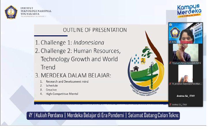 "Kuliah Perdana bagi Mahasiswa Baru dengan tema ""Merdeka Belajar di Era Pandemi"" pada Kamis (23/9/2021) secara virtual. (Istimewa)"