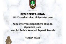 Akun IG Pemkot Solo Berhasil Direbut dari Hackers, Netizen Malah Kecewa